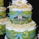2 Tier Pea in a Pod Baby Boy Diaper Cake