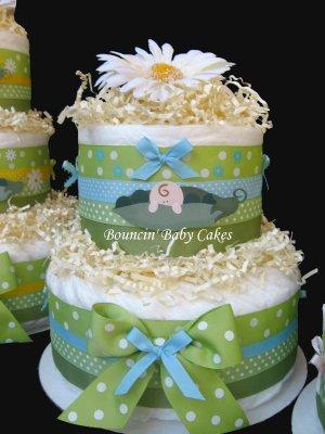 2 Tier Pea in a Pod Baby Boy Diaper Cake