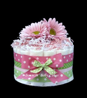 1 Tier Strawberry Kiwi Baby Shower Diaper Cake/ Centerpiece Gift