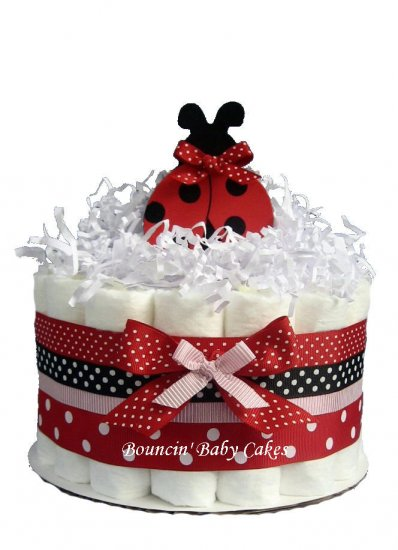 1 Tier Modern Ladybug Baby Shower Diaper Cake Centerpiece