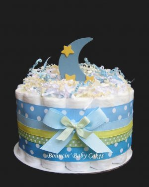 1 Tier Moon and Stars Baby Shower Diaper Cake/ Centerpiece