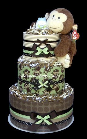 Modern Monkey Blankets Baby Shower Diaper Cake - Centerpiece Gift