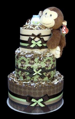 Modern Monkey Blankets Baby Shower Diaper Cake - Centerpiece Gift