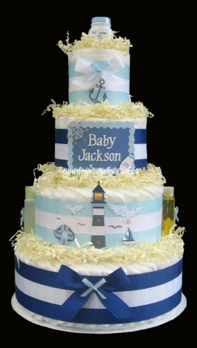 Nautical Lighthouse - Personalized Baby Shower Diaper Cake