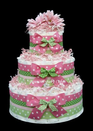 3 Tier Strawberry Kiwi (Pink and Green) Baby Shower Diaper Cake