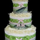 3 Tier Twin Girls &quot;Two Peas in a Pod&quot; Baby Shower Diaper Cake Centerpiece