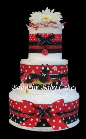 3 Tier Modern Ladybug (Red and Black) Baby Shower Diaper Cake Centerpiece