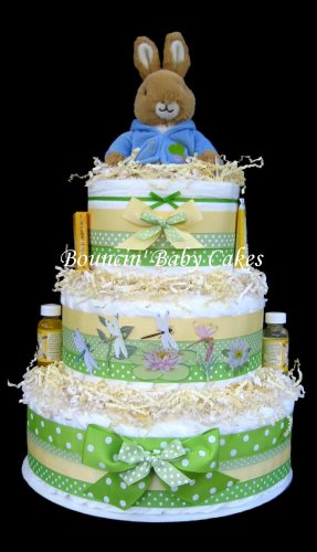 Peter Rabbit Diaper Cake Centerpiece for Neutral Baby