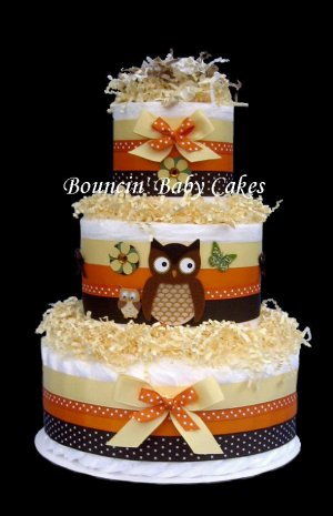 Little Hoot Momma and Baby Owl Neutral Diaper Cake Centerpiece