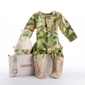 """Big Dreamzzz"" Baby Camo Two-Piece Layette Set in ""Backpack"" Gift Box"