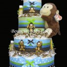 4 Tier Monkey Boy Diaper Cake Centerpiece