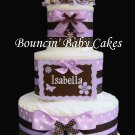 Personalized (Lavender and Brown) Baby Diaper Cake Centerpiece