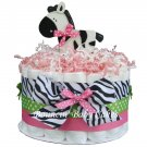 1 Tier Sassy Zebra Girl Baby Shower Diaper Cake