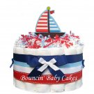 1 Tier Nautical Sailboat Baby Shower Diaper Cake