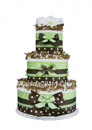 Choclolate Mint Mod Dots - Baby Neutral Diaper Cake