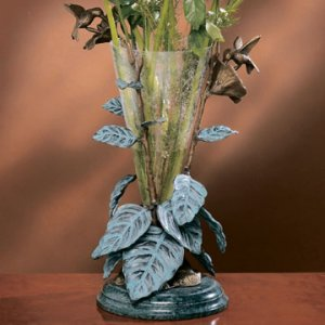 Hummingbirds & Leaves with Vase