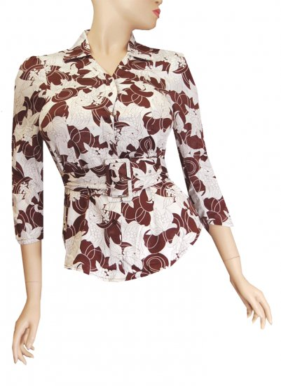 LADIES TOP/ BOUSE WITH BELT BROWN