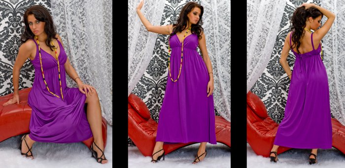 LONG CELEBRITY ONG HOLIDAY DRESS PURPLE COLOUR