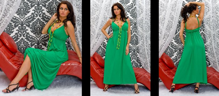 LONG CELEBRITY ONG HOLIDAY DRESS GREEN COLOUR