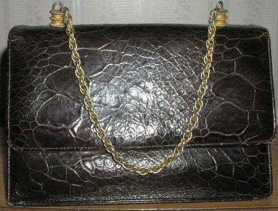 Vintage 1940's Turtleskin Purse with Chain Strap