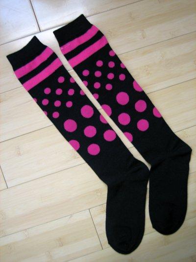 Stripes Dots Knee High Socks-Black/Pink
