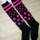 Stripes Dots Knee High Socks-Black/Pink