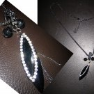Interlocking Ring Multi Charm Lariat Crystal Marquise Stone Pendant Necklace-Black (FREE Shipping)