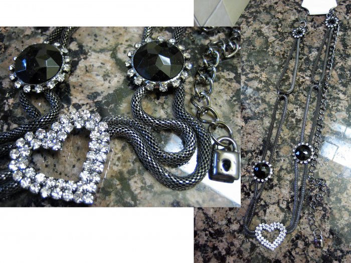Mini Lock Charm Crystal Heart Round Black Stones Pendant Necklace-Gray (FREE Shipping)