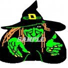 Green Witch Halloween Die Cut Window Prop
