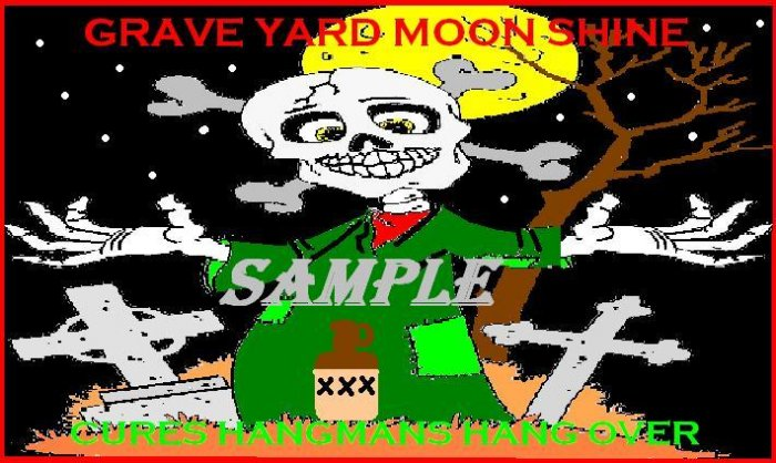 Grave Yard Moon Shine Halloween Bottle Label Prop