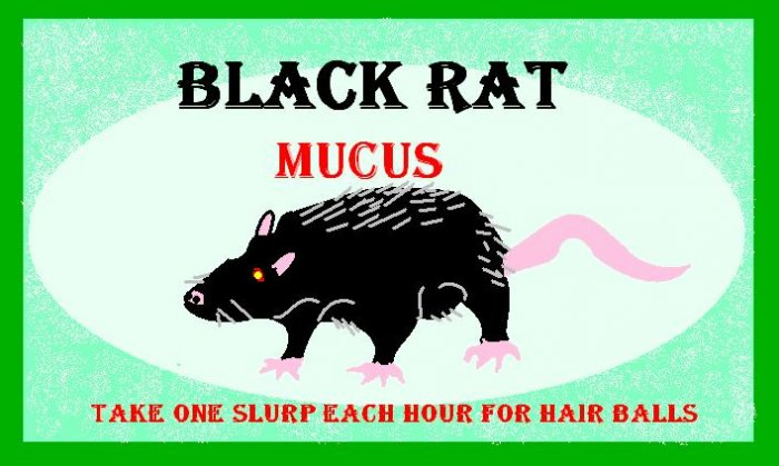 Black Rat Mucus Halloween Bottle Label Prop