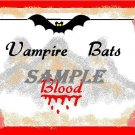 Vampire Bats Blood Halloween Bottle Label Prop