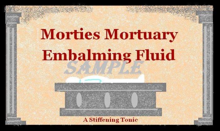 Morties Mortuary Halloween Bottle Label Prop