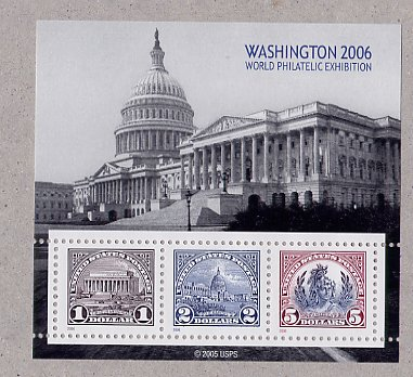 Washington 2006 Souvenir sheet Scott 571, 572, 573 Reprint Scott 4075a, b, c