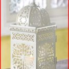 #38332 White Scrollwork Candle Lantern