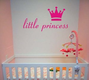 Little Princess and Crown Wall Decal Sticker Girl Nursery Kid Room Baby Art Graphic