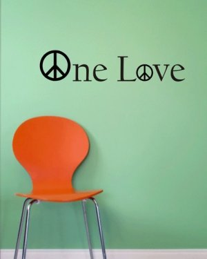 One Love Decal Sticker Wall peace children boy girl teen room