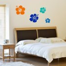 Set of 4 Hibiscus Flowers Decal Sticker Vinyl Wall Art Graphic Hawaii
