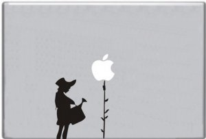 Girl Watering Apple Tree Decal Macbook Mack Computer Laptop Sticker
