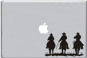 Three Horse Riders Riding into Sunset Decal for Macbook Sticker Laptop Computer Apple Mac
