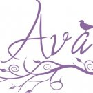 Custom Name with Modern Branch and Birdie Decal Sticker Wall Art Graphiv Child Nursery