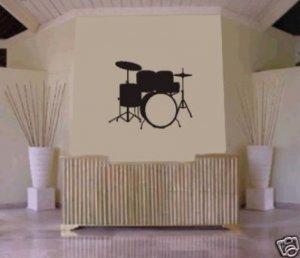 DRUM SET Wall Mural Decal Sticker MUSIC DRUMS DRUMMER
