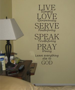 LIVE SIMPLY decal sticker wall sticker beautiful words god religion nice