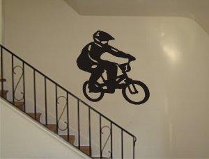 Biker Decal Sticker Wall sports cool boy girl nursery bmx bike