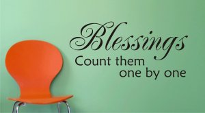 BLESSINGS count them one by one decal sticker wall beautiful quote words