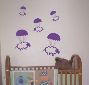 Parachuting Sheep Decals Stickers Wall Art Graphic Baby Room Count Cute Animal Nursery