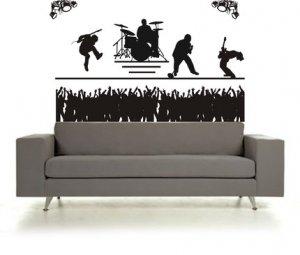 BIG Rock Band Concert and Crowd Sticker Wall Decal Music Kid Room Cool Rockstar Guitar HDrums