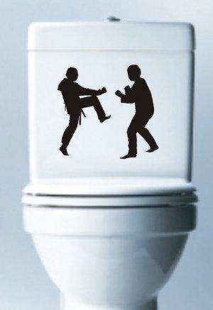 Karate Guys Decal Sticker Laptop Toilet Fight Martial Arts Art Graphic