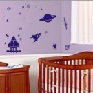 Space Rockets And Planets Set Sticker Wall Decal Kid Boy Baby Teen