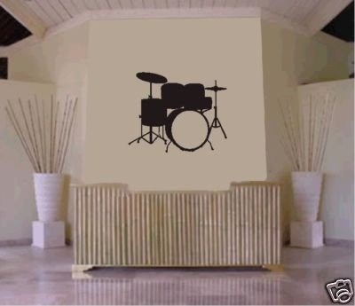 DRUM SET Wall Mural Decal Sticker Music Drums Drummer Band Drumstick Percussion